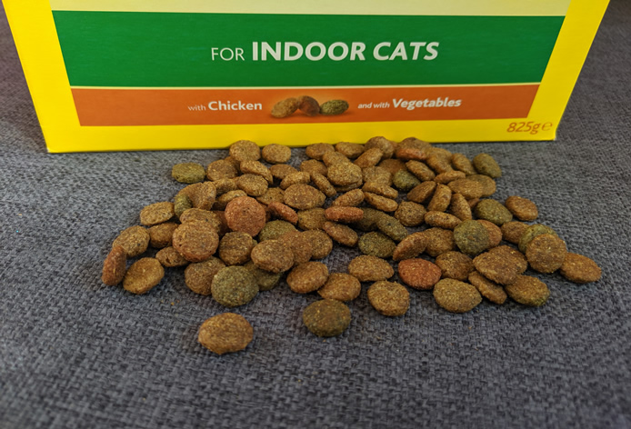box of indoor cat food